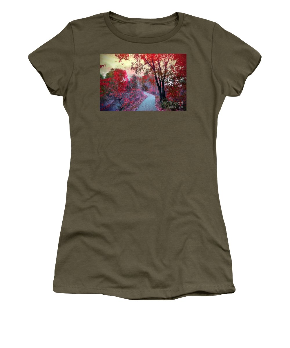 Path Women's T-Shirt (Athletic Fit) featuring the photograph The Pondering Path by Tara Turner