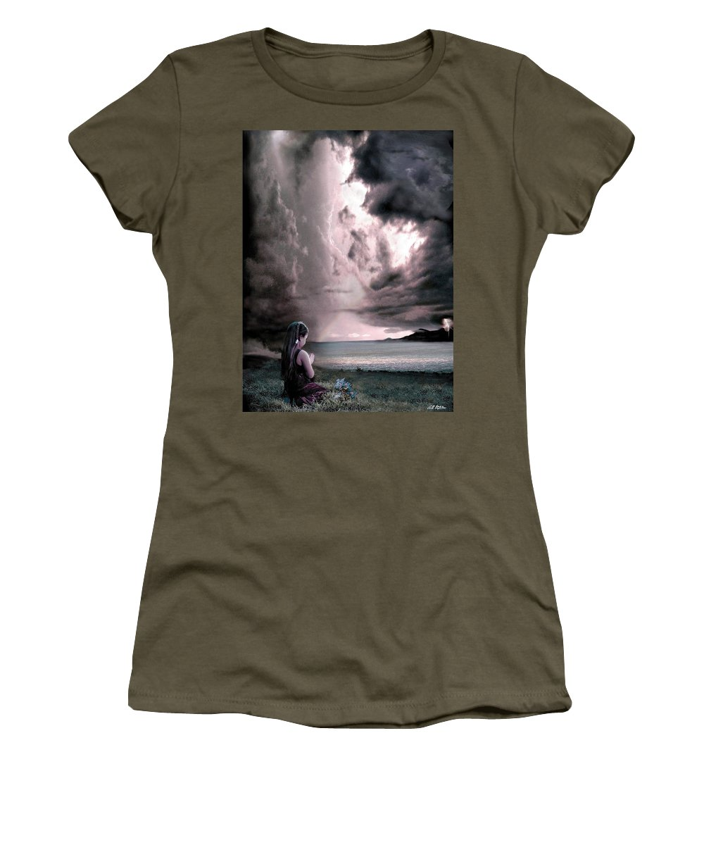 Children Women's T-Shirt featuring the mixed media The Prayer by Barbara Stephens