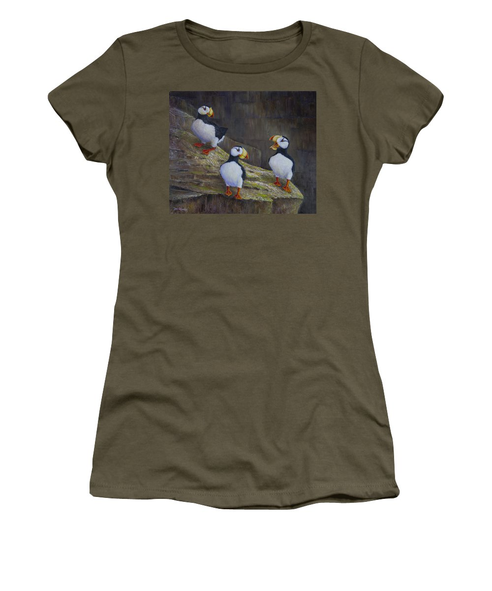 Horned Women's T-Shirt featuring the painting The Puffin Report by Dee Carpenter