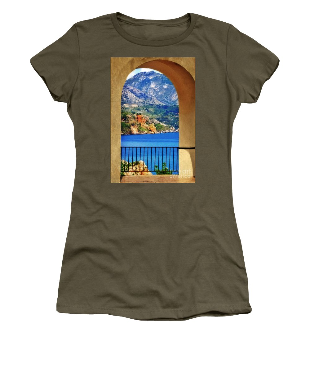 The Sea Through The Portico Women's T-Shirt featuring the photograph The Sea Through The Portico by Mary Machare