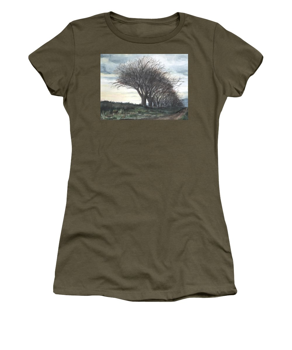 Watercolor Women's T-Shirt featuring the painting The Sentinels by Brenda Owen