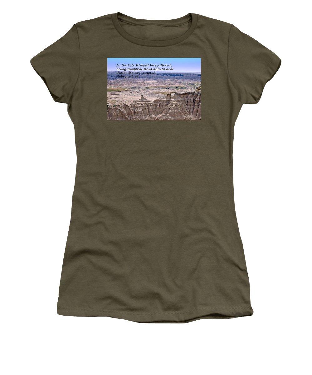 Landscape Photography Women's T-Shirt featuring the photograph The Temptation Of Jesus Hebrews 2 18 by Barb Dalton