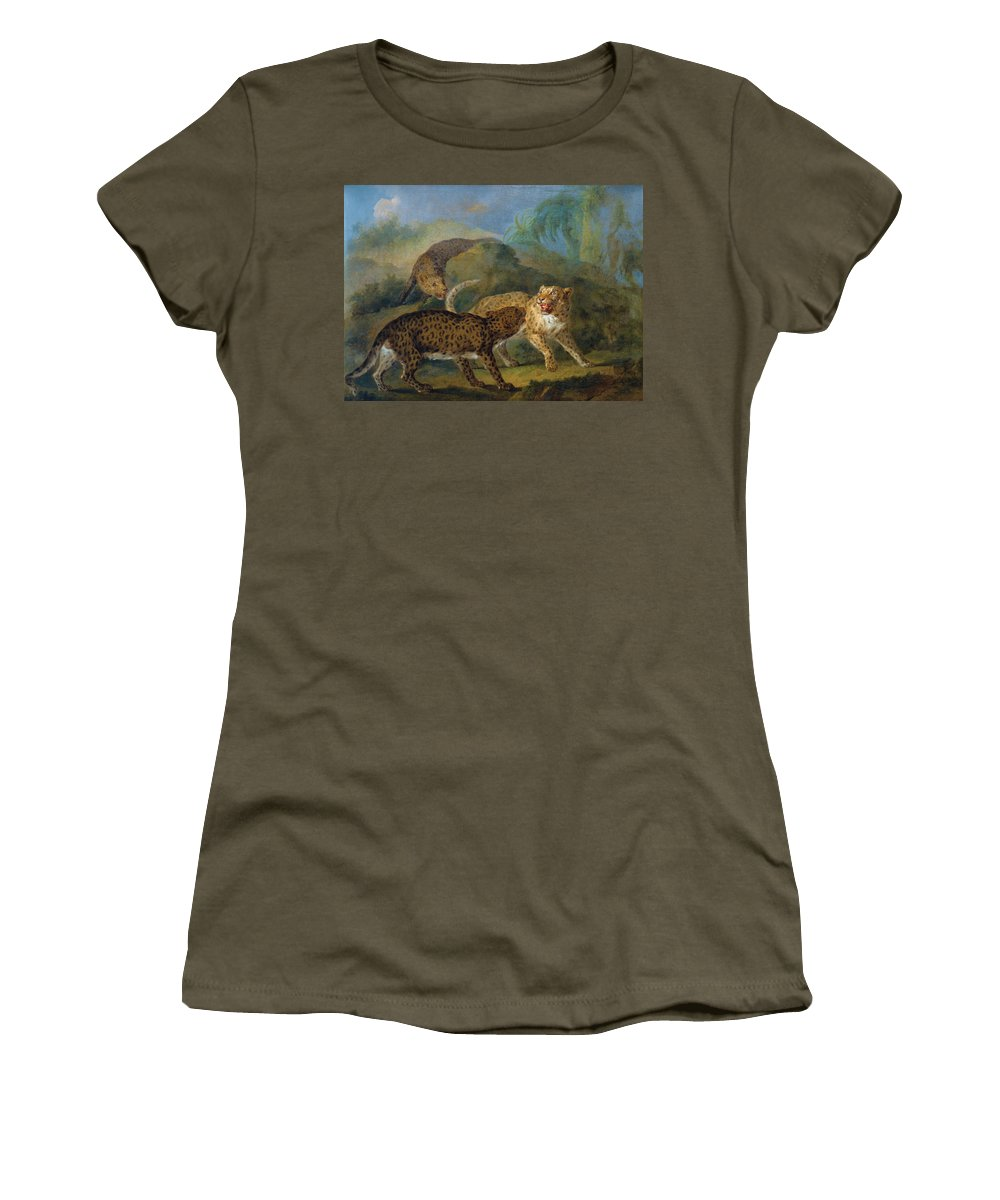 Jacques-charles Oudry Women's T-Shirt featuring the painting The Three Leopards by Jacques-Charles Oudry