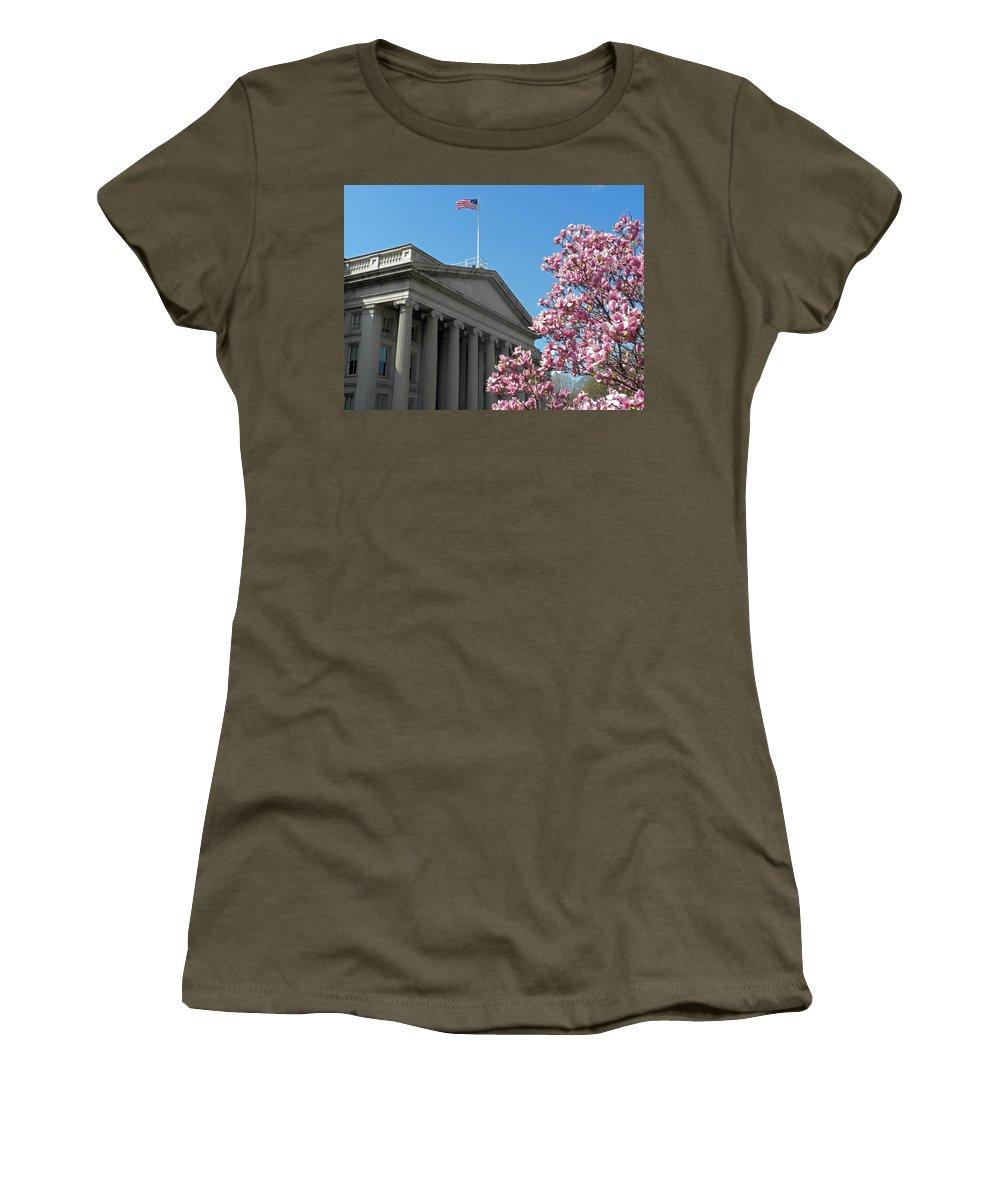 The Treasury Building Women's T-Shirt featuring the photograph The Treasury Building by Dave Mills
