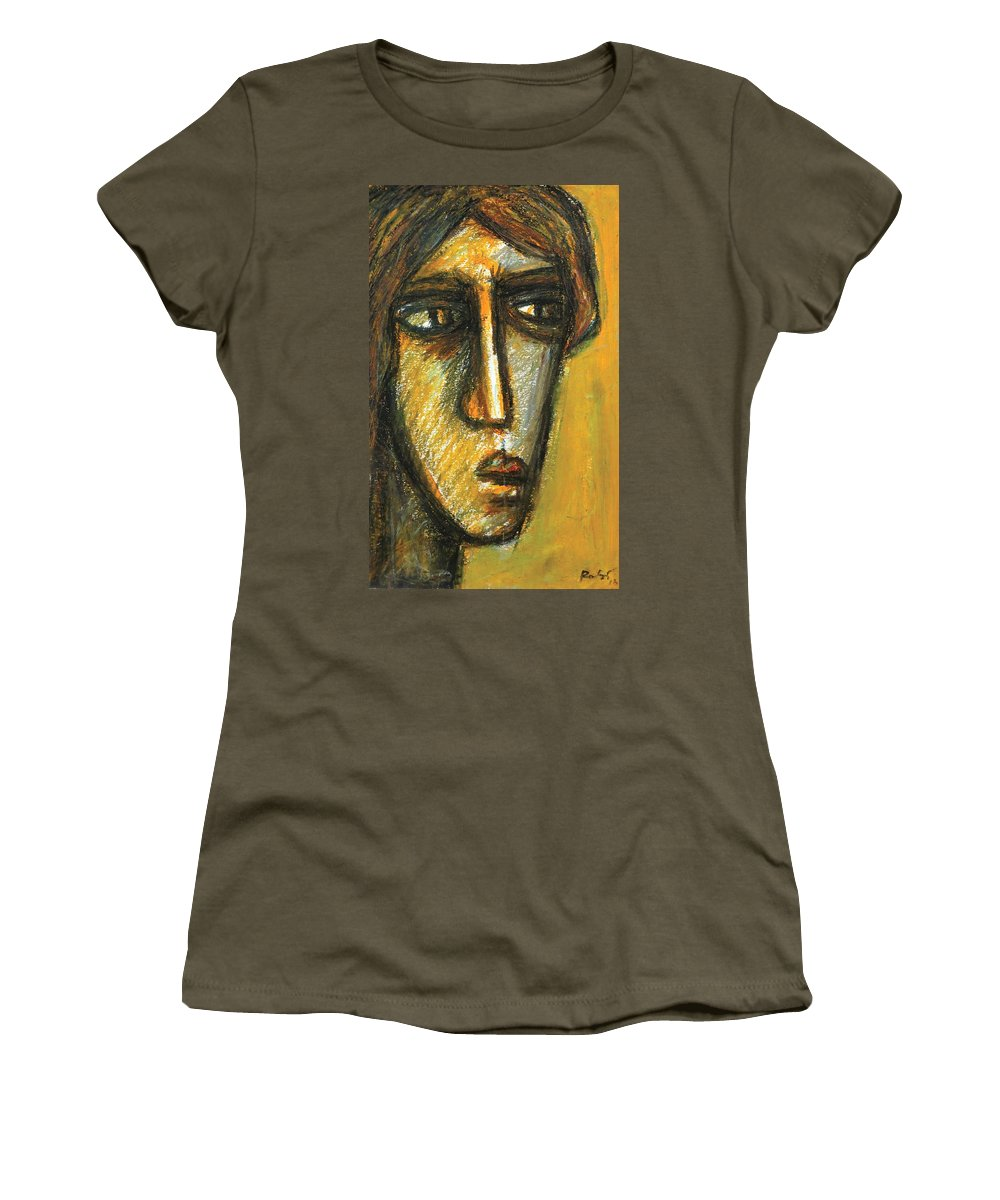 Portrait Women's T-Shirt featuring the pastel The Unseen - 2 by Rabi Khan
