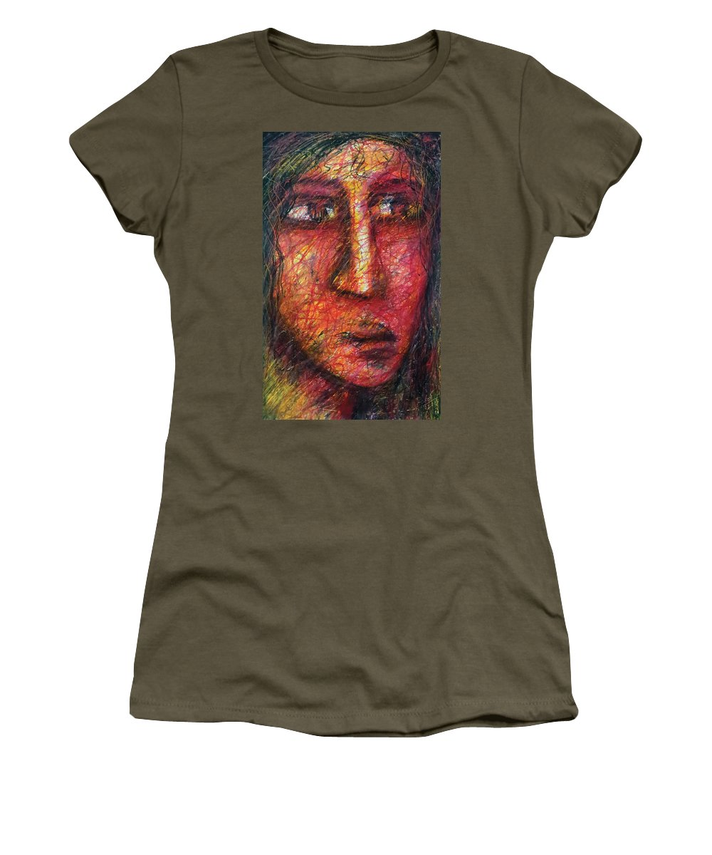 Portrait Women's T-Shirt featuring the pastel The Unseen - 5 by Rabi Khan