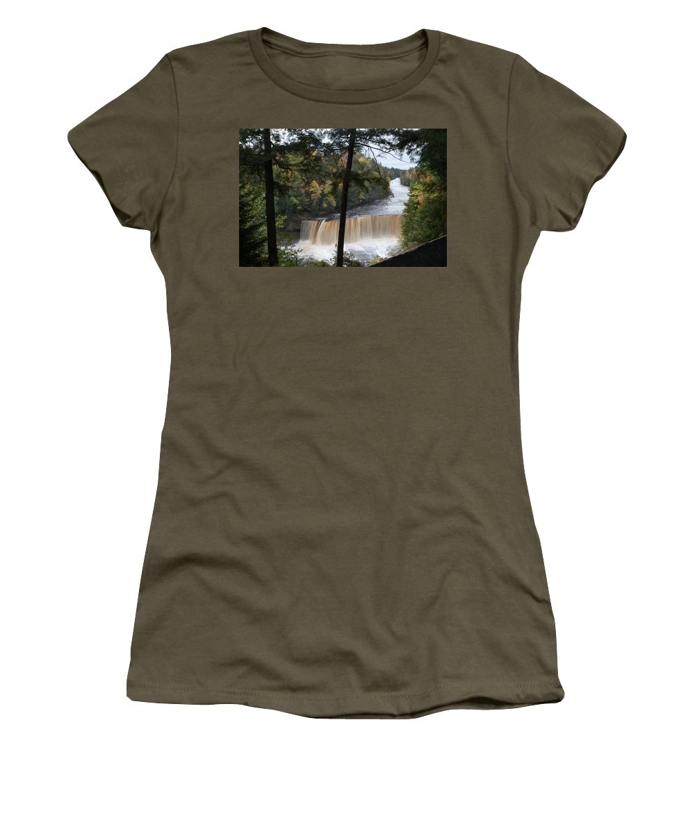 Lower Tahquamenon Falls Women's T-Shirt (Athletic Fit) featuring the photograph The Upper by Linda Kerkau