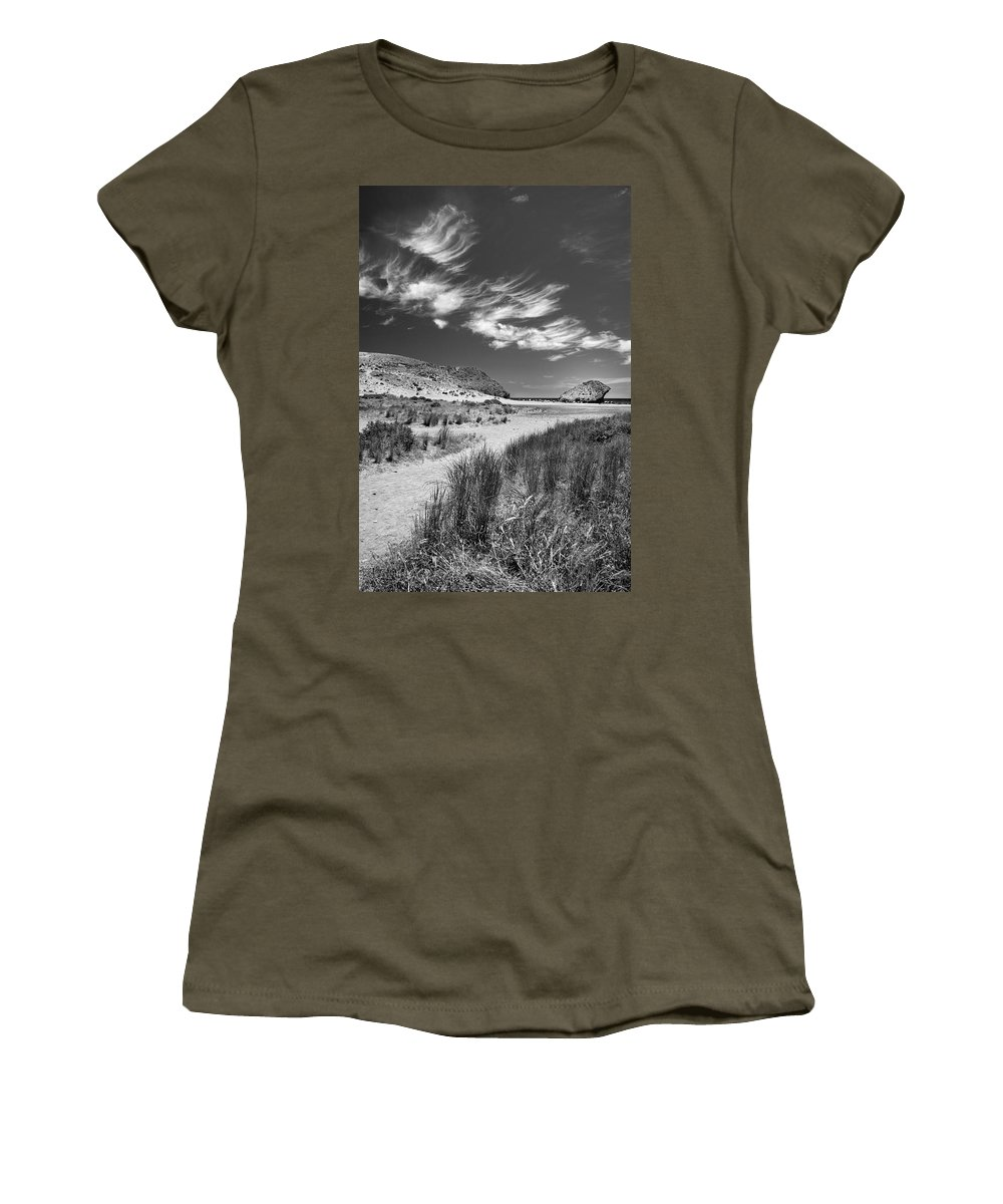 Monocronme Women's T-Shirt featuring the photograph The Way To The Beach by Guido Montanes Castillo