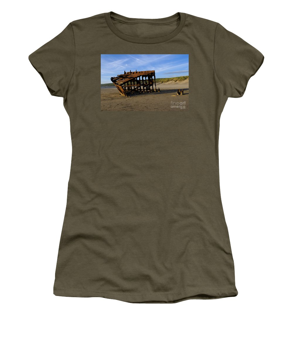 The Wreck Of The Peter Iredale Women's T-Shirt featuring the photograph The Wreck Of The Peter Iredale - Oregon by Yefim Bam
