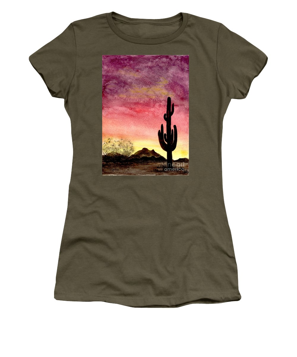 Cactus Women's T-Shirt featuring the painting There Is A God by Flamingo Graphix John Ellis