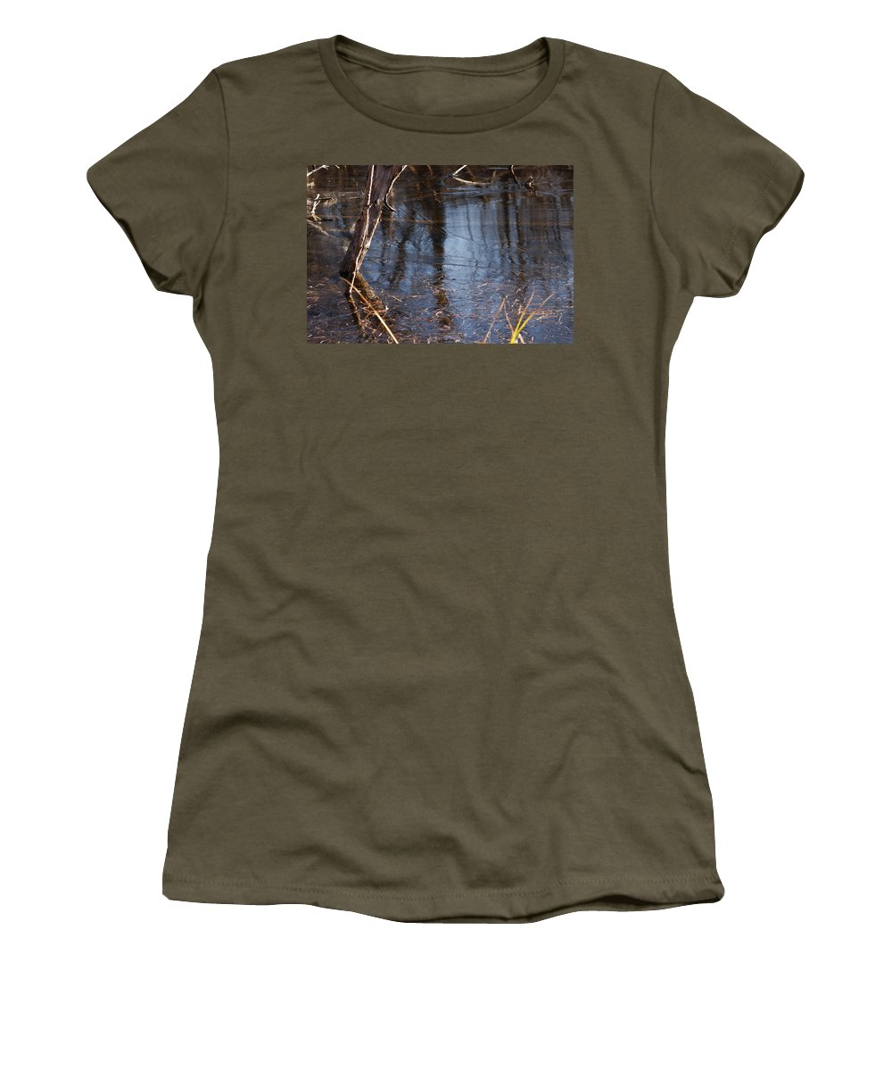 Ice Women's T-Shirt featuring the photograph Thin Ice Of A New Day by Susan Capuano