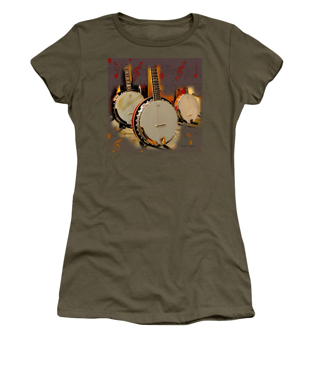 Featured Women's T-Shirt featuring the photograph Three Banjoes by Paulette B Wright