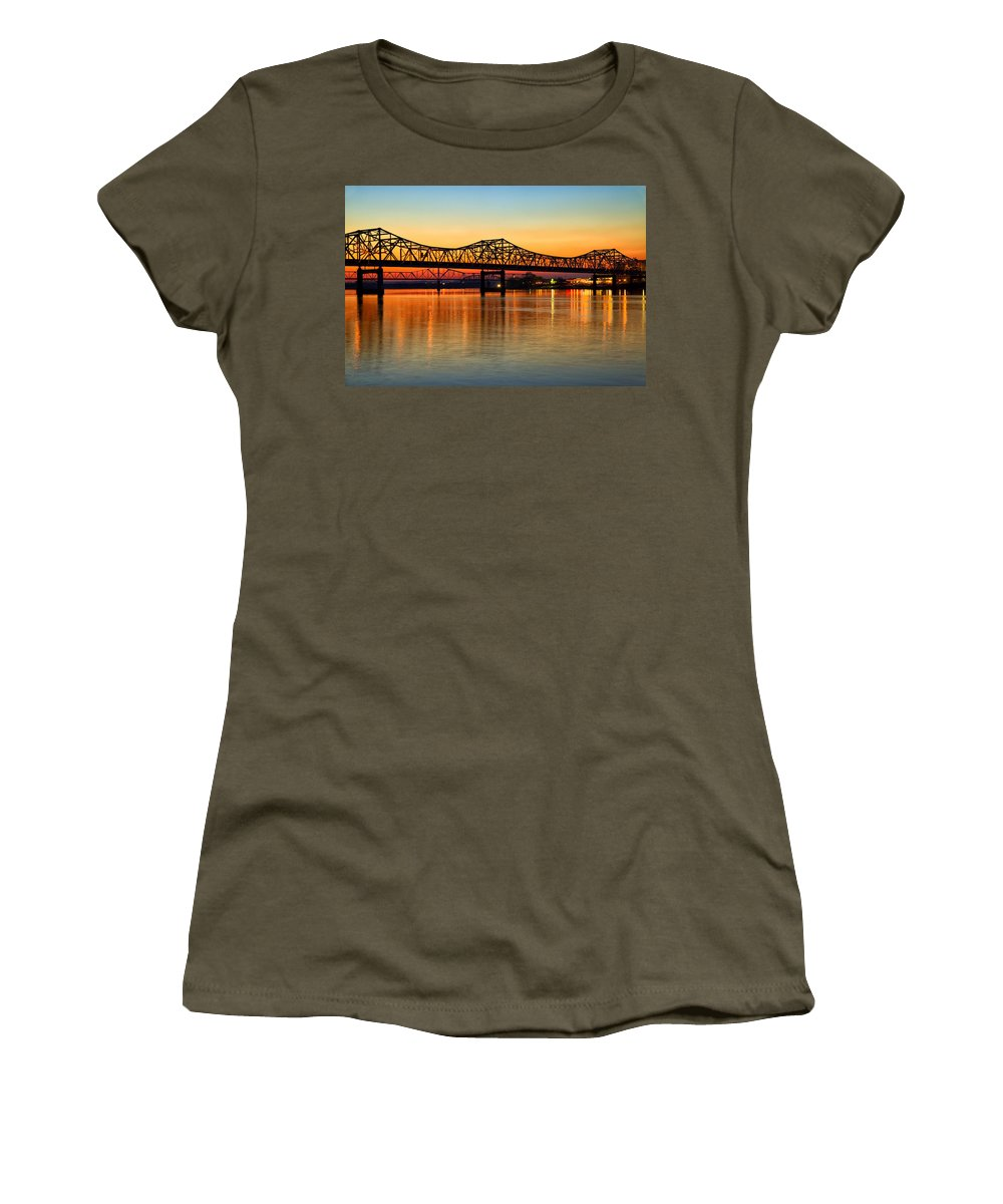Bridge Women's T-Shirt featuring the photograph Three Bridge Sunset by Diana Powell