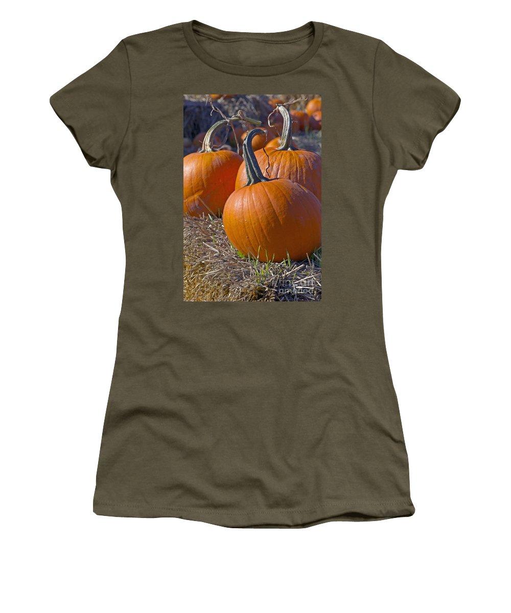 Pumpkin Women's T-Shirt featuring the photograph Three Pumpkins by Sharon Talson