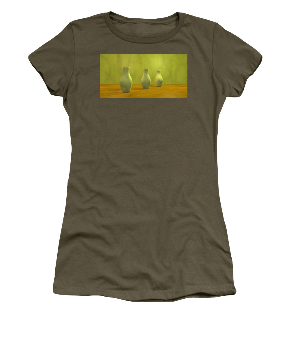 Still Life Women's T-Shirt featuring the digital art Three Vases II by Gabiw Art