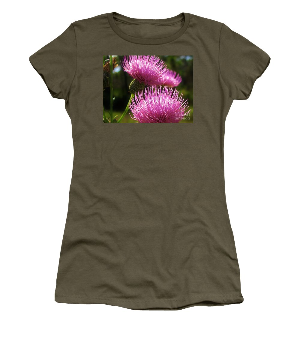 Keri West Women's T-Shirt featuring the photograph Tickled Thistle by Keri West