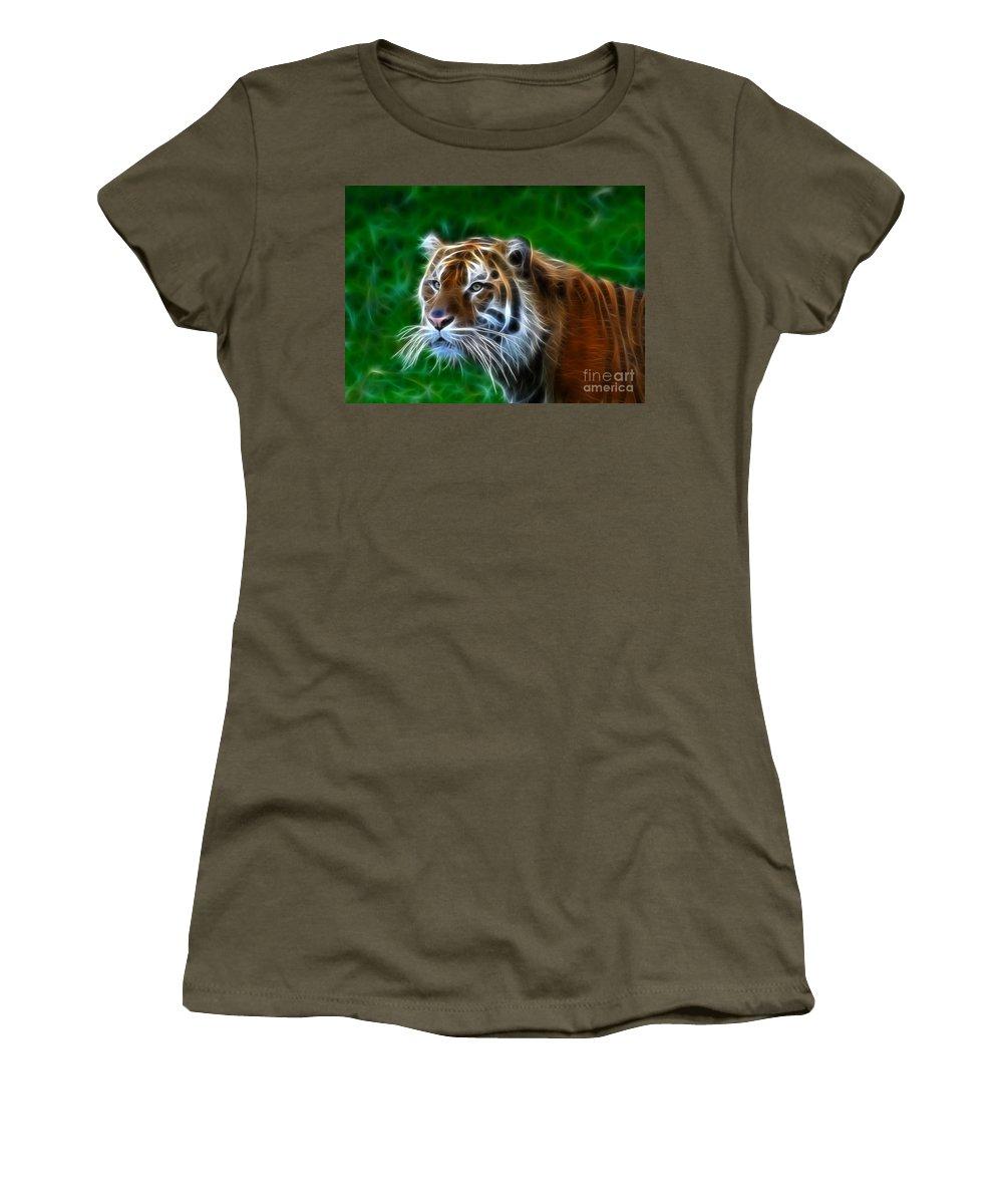 Tiger Women's T-Shirt featuring the photograph Tiger Dream by Steve McKinzie