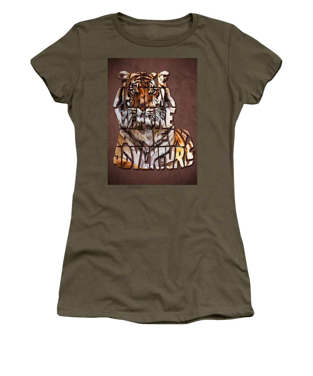 Tiger Women's T-Shirt featuring the painting Tiger Majesty Typography Art by Georgeta Blanaru