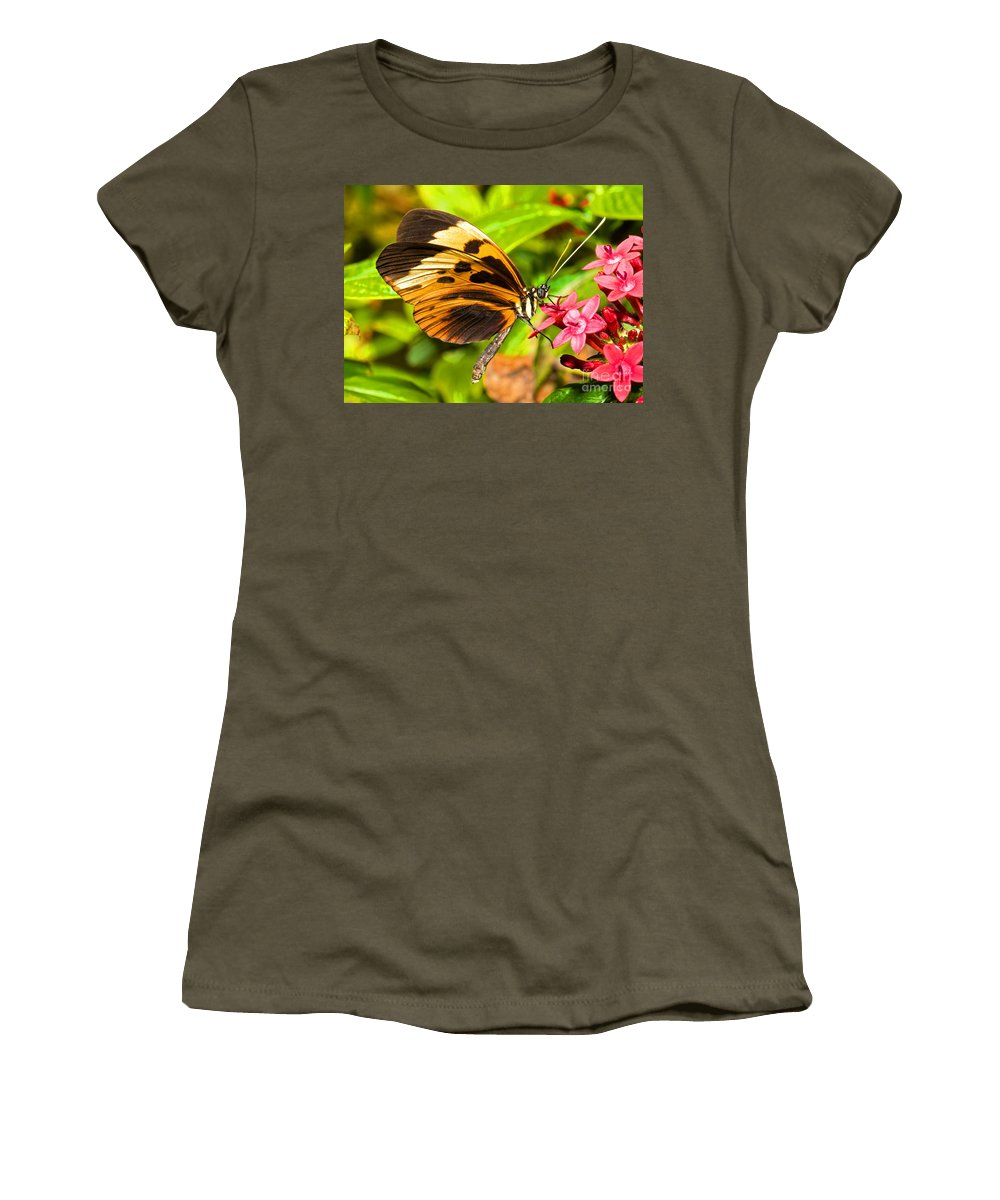 Orange And Black Butterfly Women's T-Shirt featuring the photograph Tiger Mimic Butterfly by Millard H. Sharp