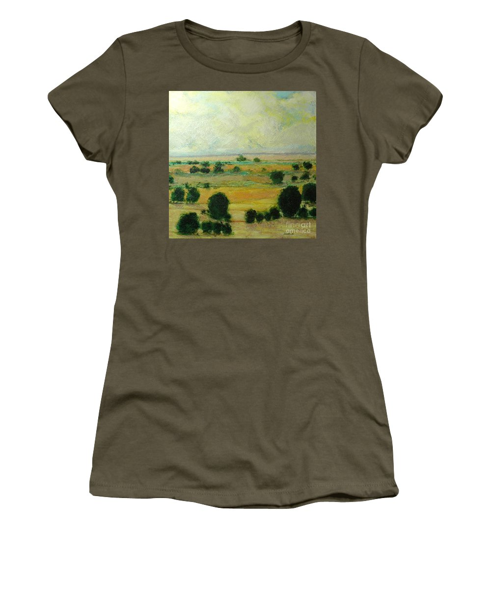 Landscape Women's T-Shirt featuring the painting Till The Clouds Rolls By by Allan P Friedlander