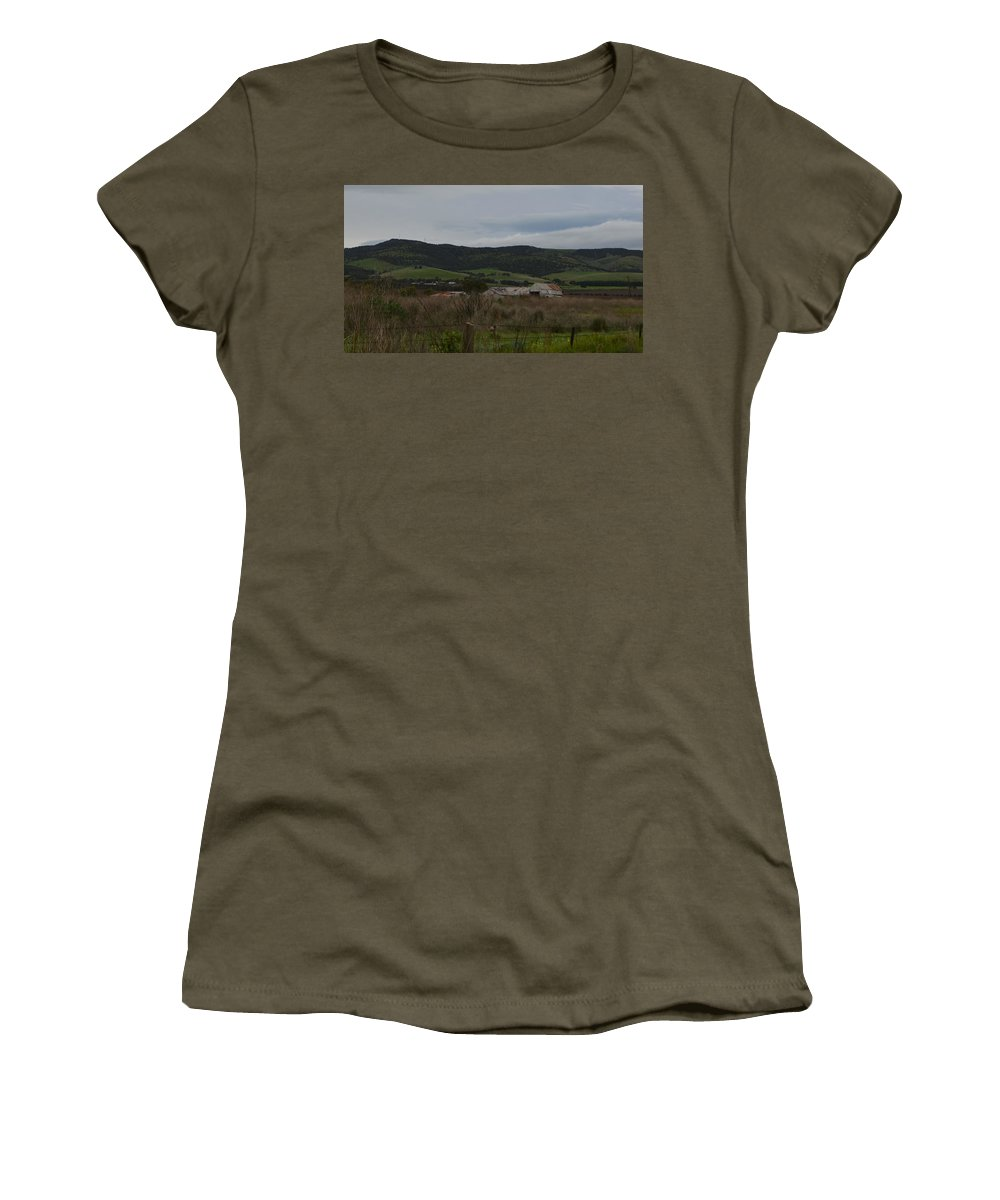 Mclaren Vale Women's T-Shirt featuring the photograph Tin Sheds by Cheryl Miller