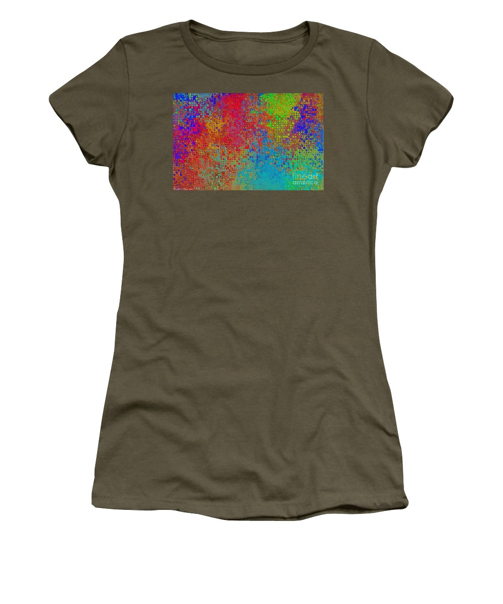 Abstract Women's T-Shirt featuring the digital art Tiny Blocks Digital Abstract - Bold Colors by Debbie Portwood