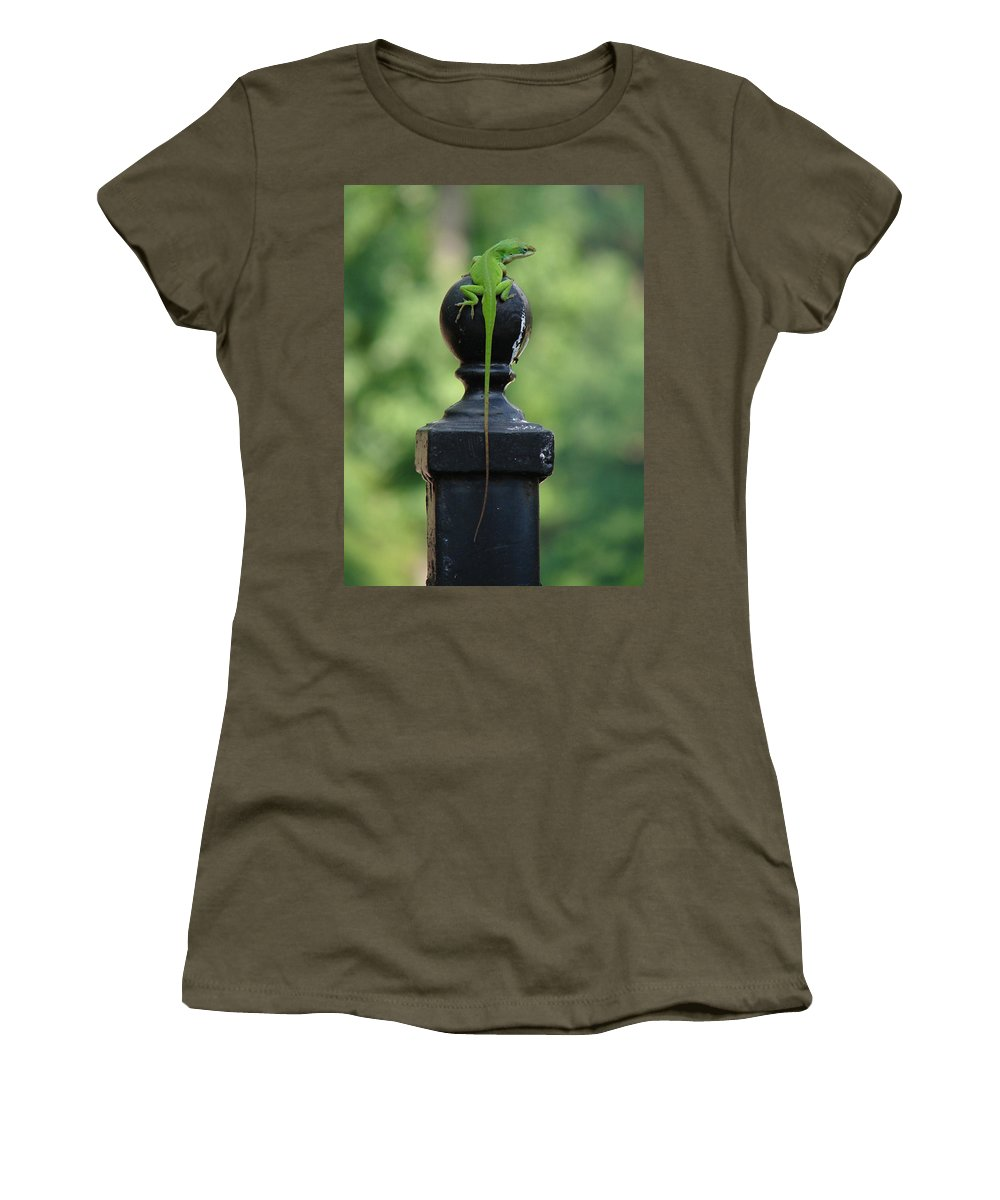 Lizard Women's T-Shirt (Athletic Fit) featuring the photograph Tip To Tail Reverse by Katherine Sumpter