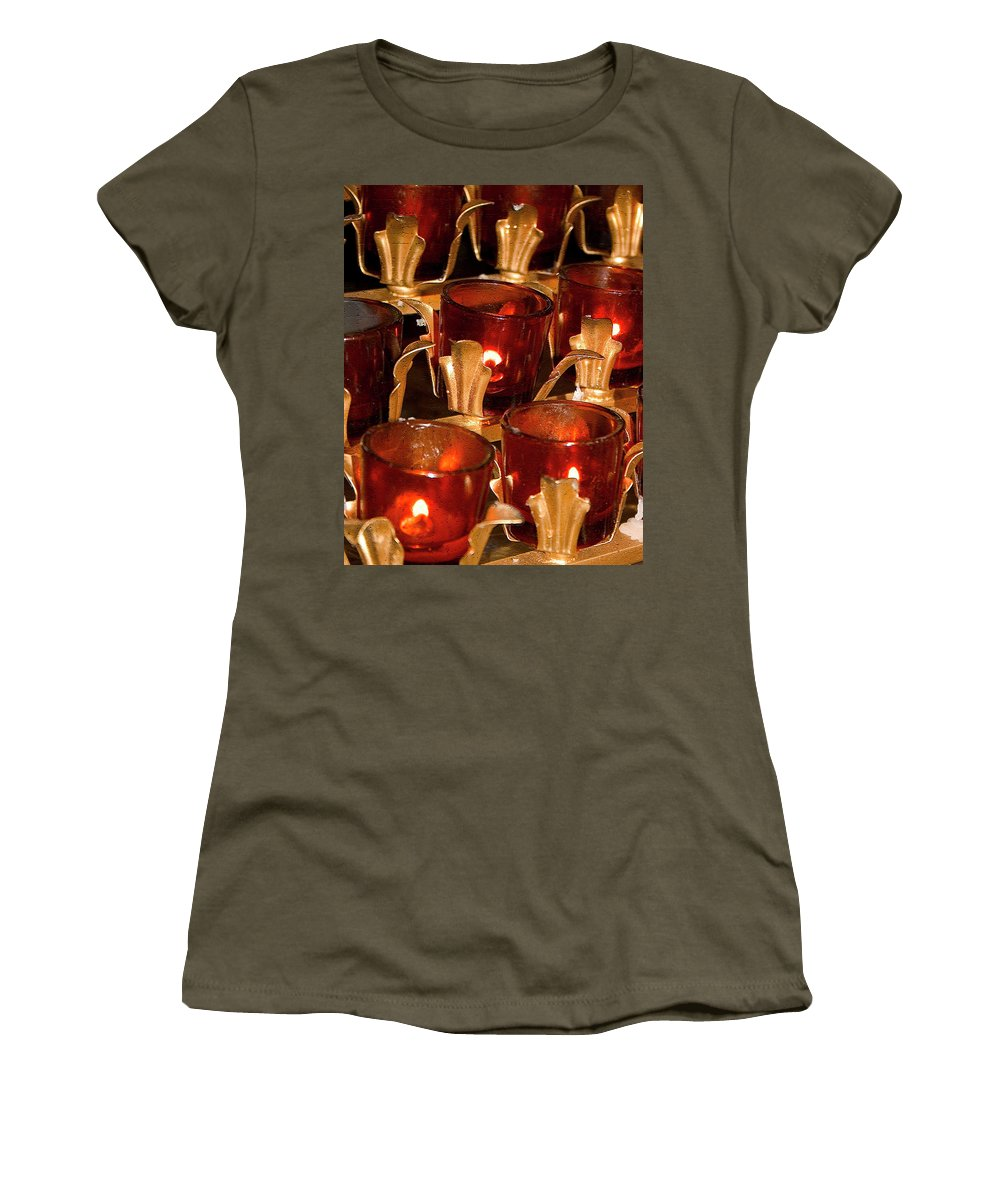 Candle Women's T-Shirt (Athletic Fit) featuring the photograph To Lite A Candle by Karol Livote