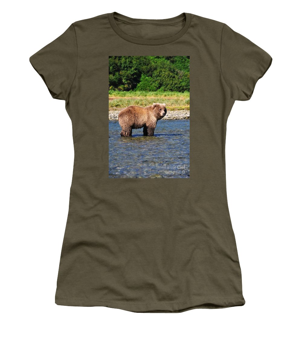Alaska Women's T-Shirt (Athletic Fit) featuring the photograph Too Much Attention by Deanna Cagle