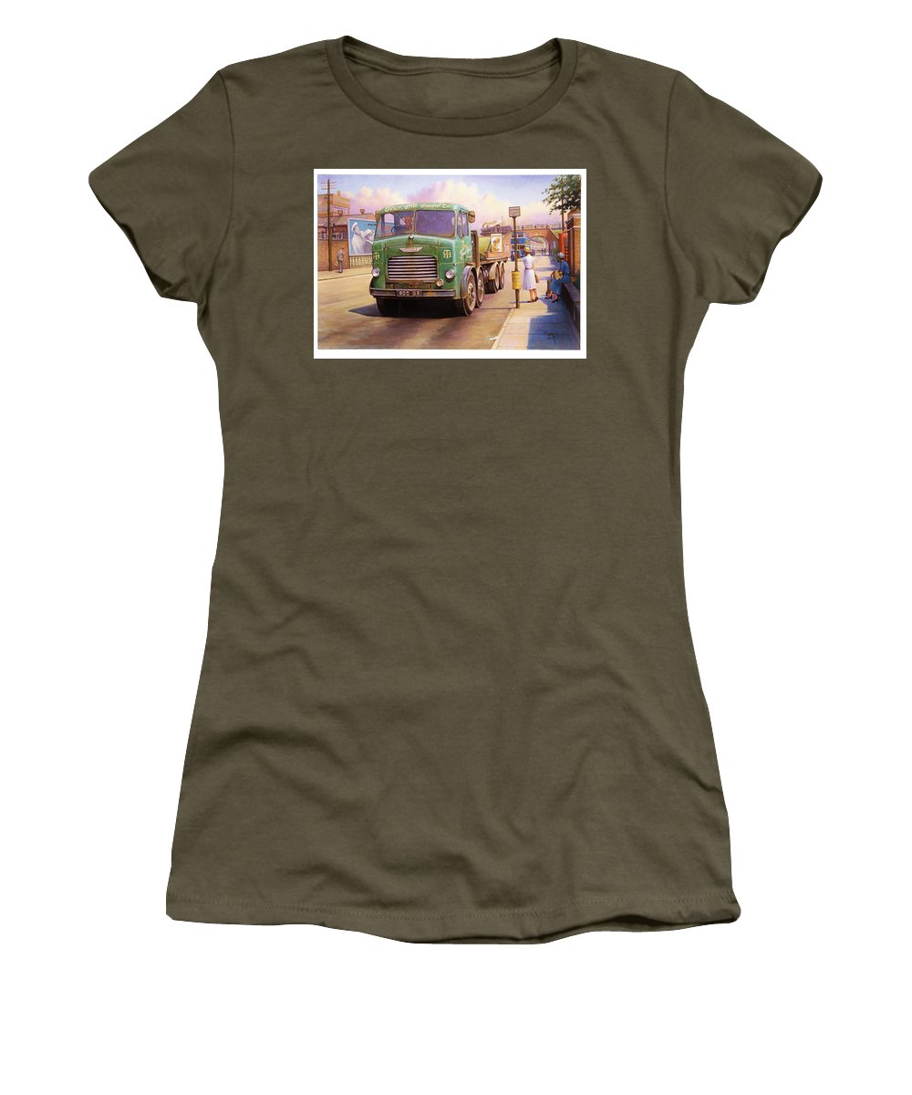 Painting For Sale Women's T-Shirt featuring the painting Tower Hill Transport. by Mike Jeffries