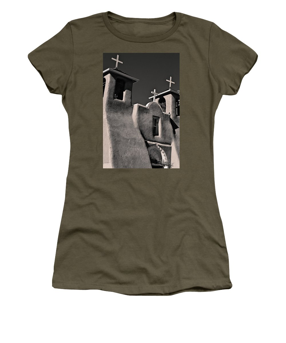 Bell Women's T-Shirt featuring the photograph Towers In Sepia by Charles Muhle