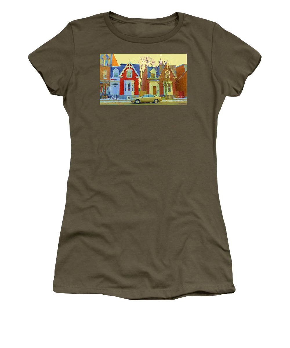 Pointe St Charles Women's T-Shirt (Athletic Fit) featuring the painting Town Houses In Winter Suburban Side Street South West Montreal City Scene Pointe St Charles Cspandau by Carole Spandau