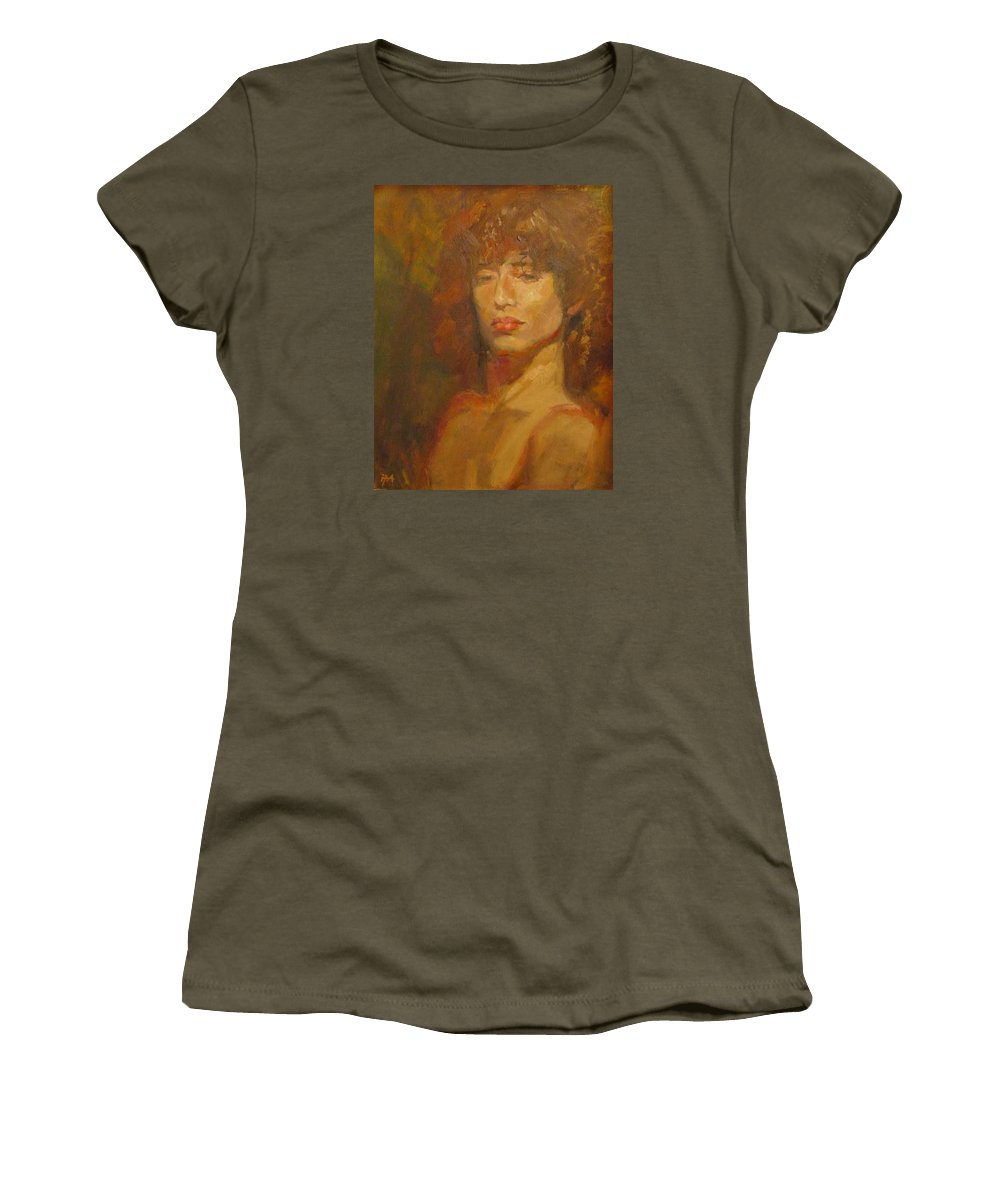 Portrait Women's T-Shirt (Athletic Fit) featuring the painting Tracy by Irena Jablonski