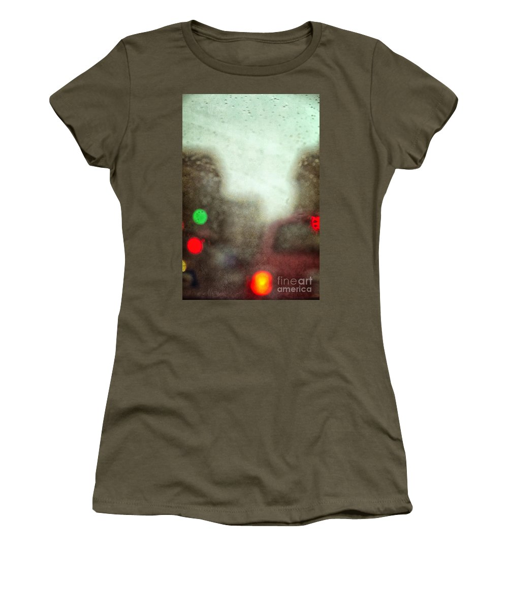 Cars; Traffic; Driving; Auto; Automobile; Automotive; Drive; Modern; City; Cityscape; Road; Outdoor; Outside; Perspective; Street; Transportation; Vehicle; Lights; Breaks; Rain; Rainy; Weather; Fog; Crowded; Busy; Road; Highway; Brakes; Stop Light; Red; Green; Stop; Go Women's T-Shirt featuring the photograph Traffic In The Rain by Margie Hurwich