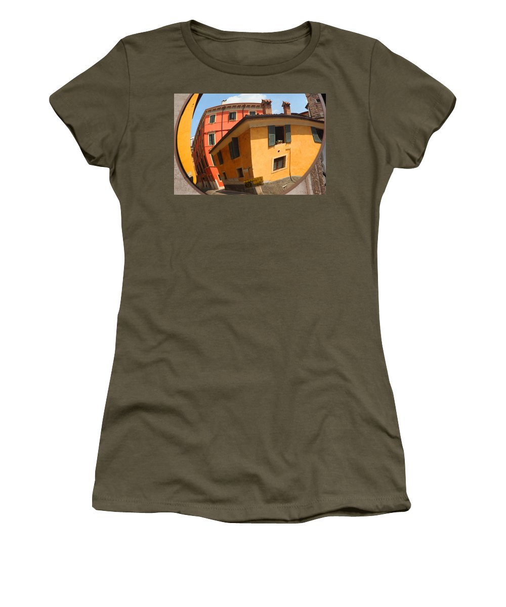 Italy Women's T-Shirt featuring the photograph Traffic Mirror Soave Italy by Susan Rovira