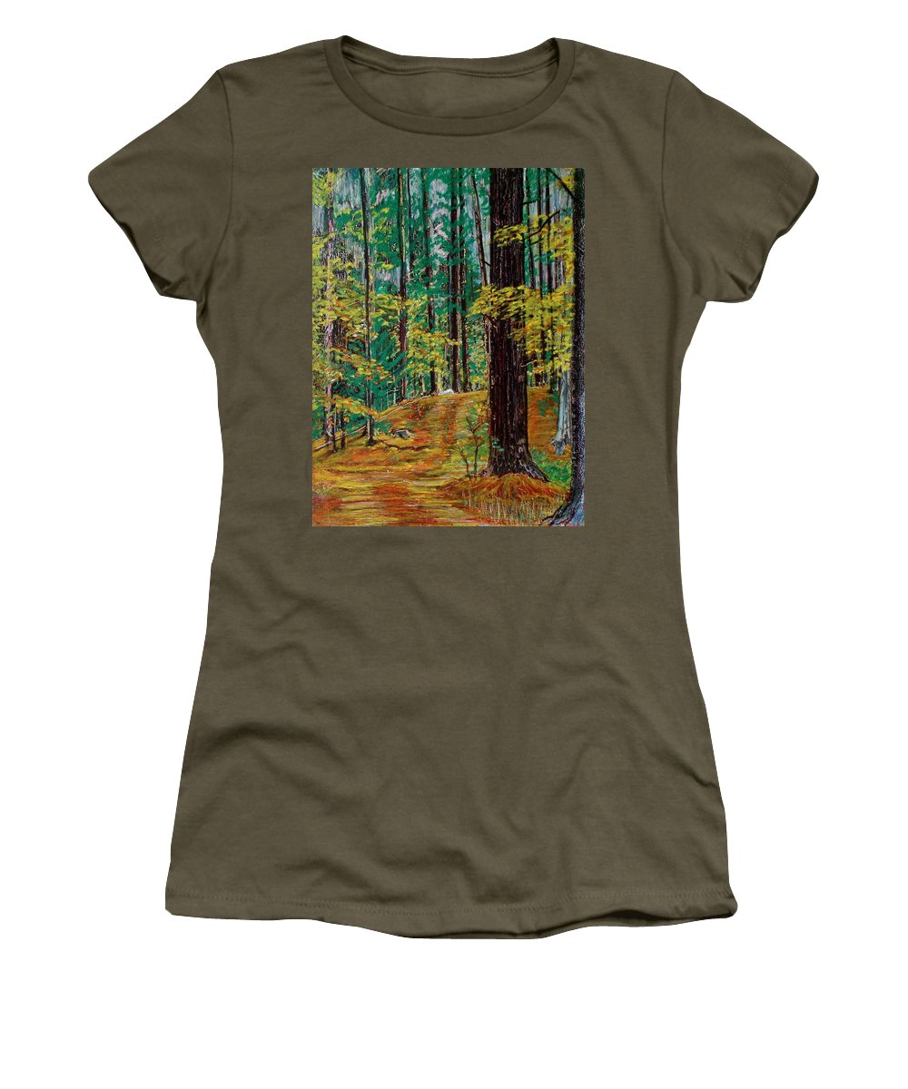 New Hampshire Women's T-Shirt featuring the pastel Trail At Wason Pond by Sean Connolly