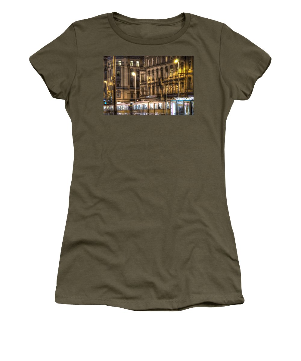 Street Women's T-Shirt featuring the digital art Tram Night by Nathan Wright