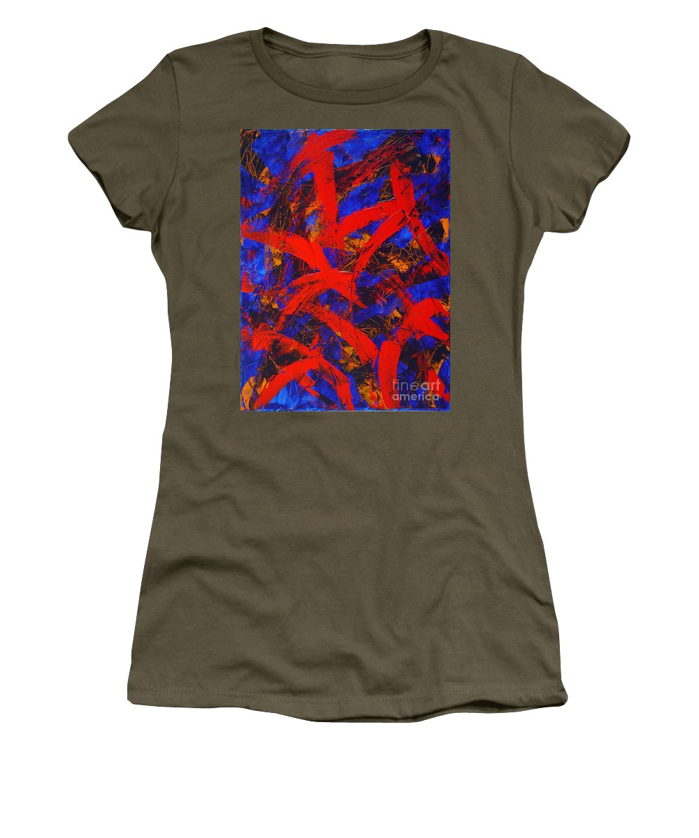 Abstract Women's T-Shirt featuring the painting Transitions With Blue And Red by Dean Triolo