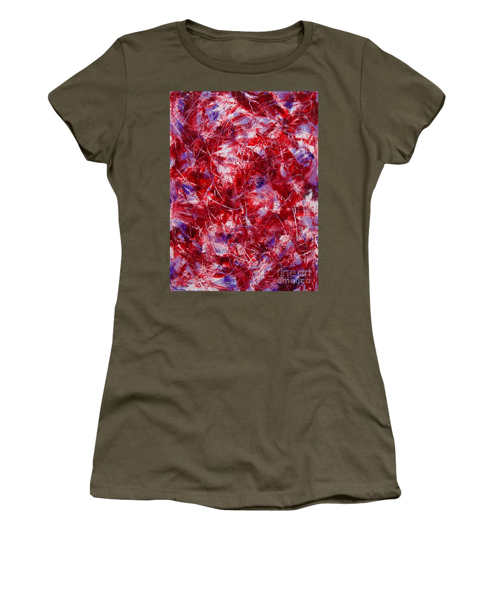 Abstract Women's T-Shirt (Athletic Fit) featuring the painting Transitions With White Red And Violet by Dean Triolo