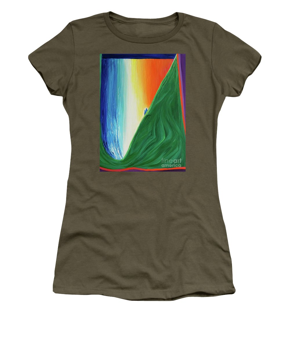 Waterfall Women's T-Shirt featuring the painting Travelers Rainbow Waterfall By Jrr by First Star Art