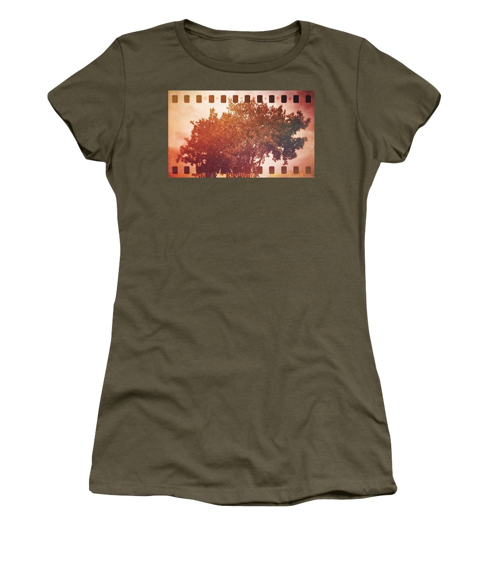 Vermont Women's T-Shirt featuring the photograph Tree Grunge Vintage Analog Film by Andy Gimino