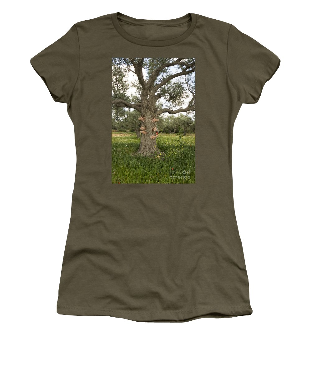 Tree Women's T-Shirt featuring the photograph Tree Hugging Green Ecological Concept by Eyal Bartov
