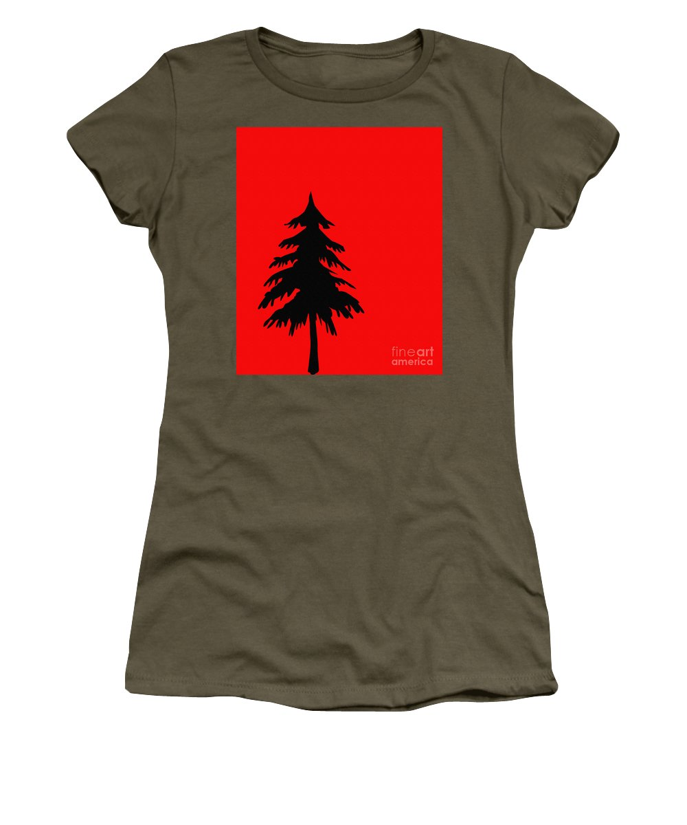 Tree Silhouette On A Red Background 2 Women's T-Shirt featuring the digital art Tree Silhouette On A Red Background 2 by Barbara Griffin