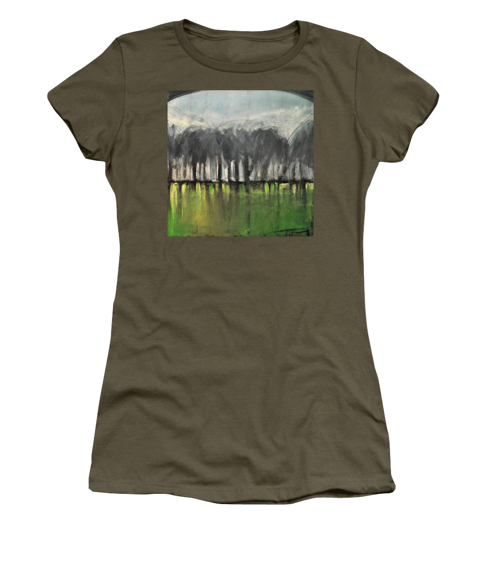 Trees Women's T-Shirt featuring the painting Treeline by Tim Nyberg