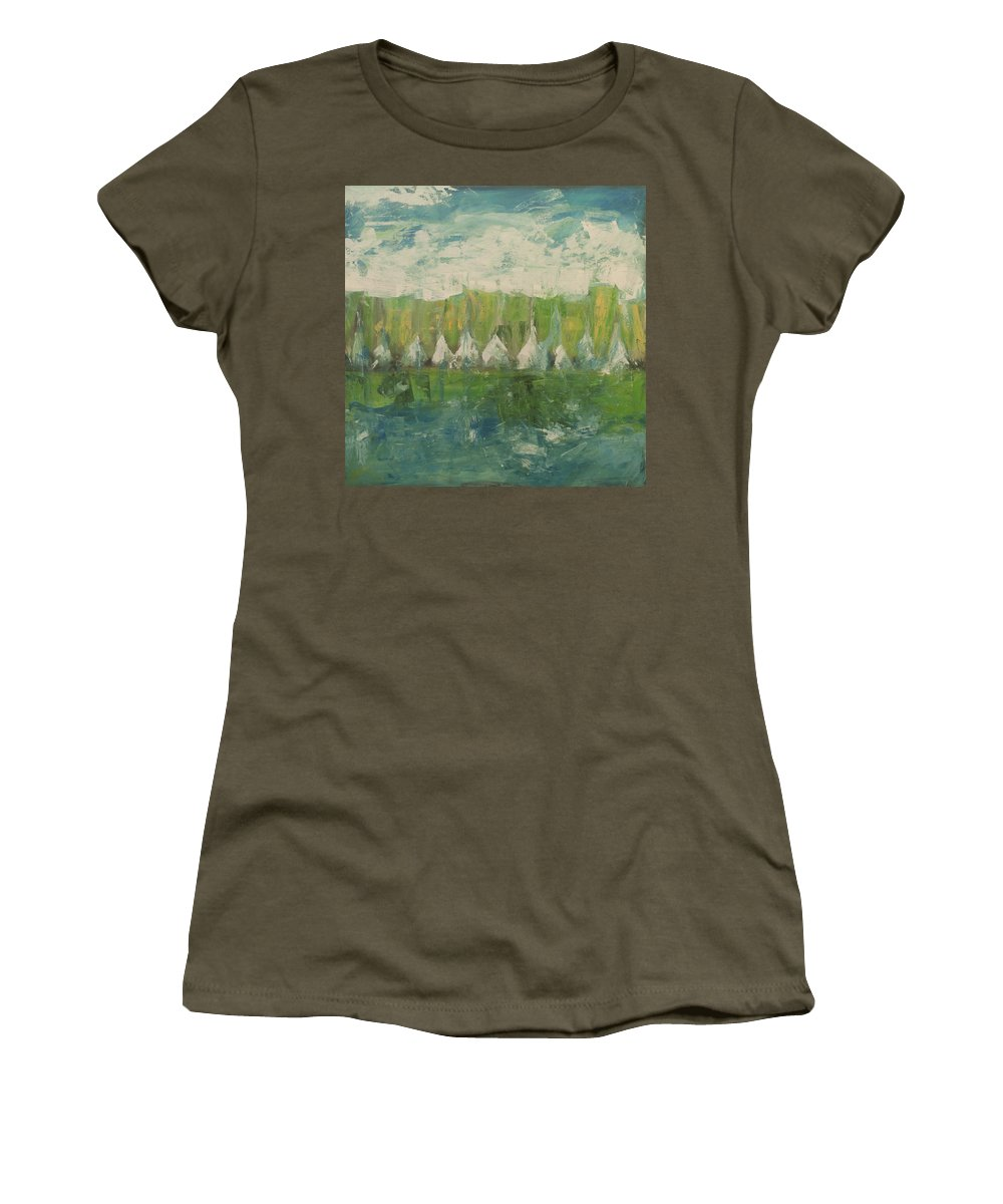 Trees Women's T-Shirt featuring the painting Trees By The River by Tim Nyberg