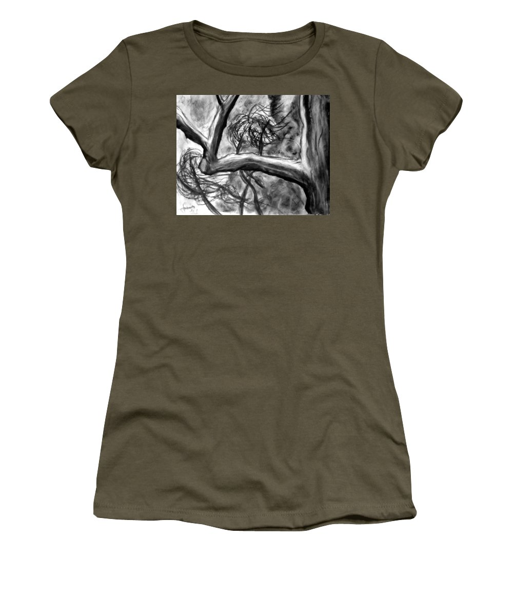 Trees Women's T-Shirt featuring the painting Trees In The Wind by Jason Gluskin