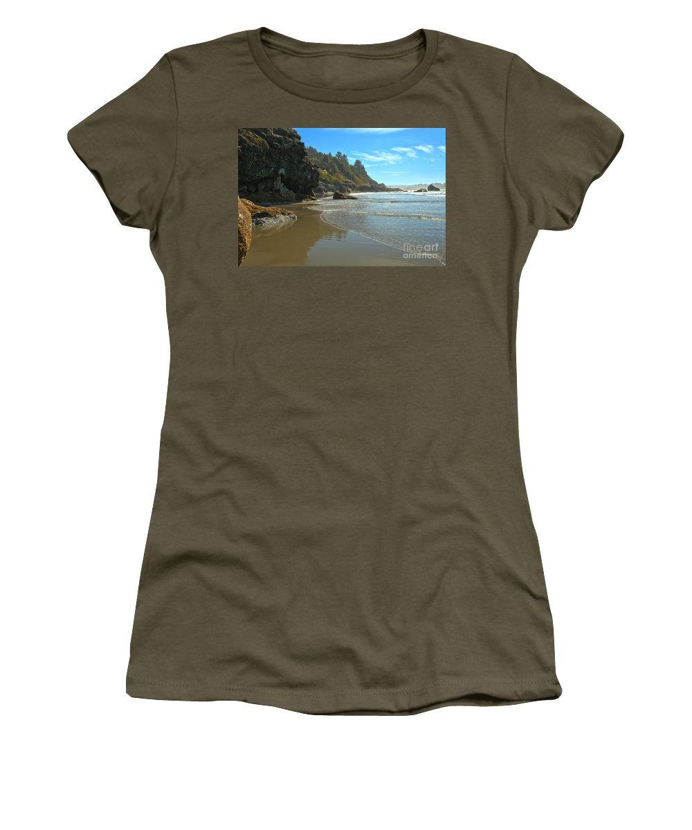 Luffenholtz Beach Women's T-Shirt featuring the photograph Trinidad Luffenholtz Beach by Adam Jewell