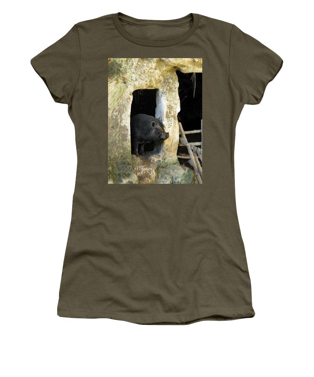 Troglodyte Pig Women's T-Shirt featuring the photograph Troglodyte Pig by Randi Kuhne