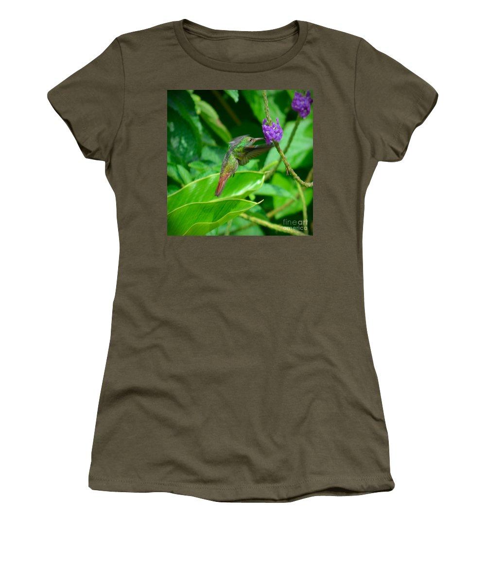 Green Women's T-Shirt featuring the photograph Tropical Hummingbird by Gary Keesler