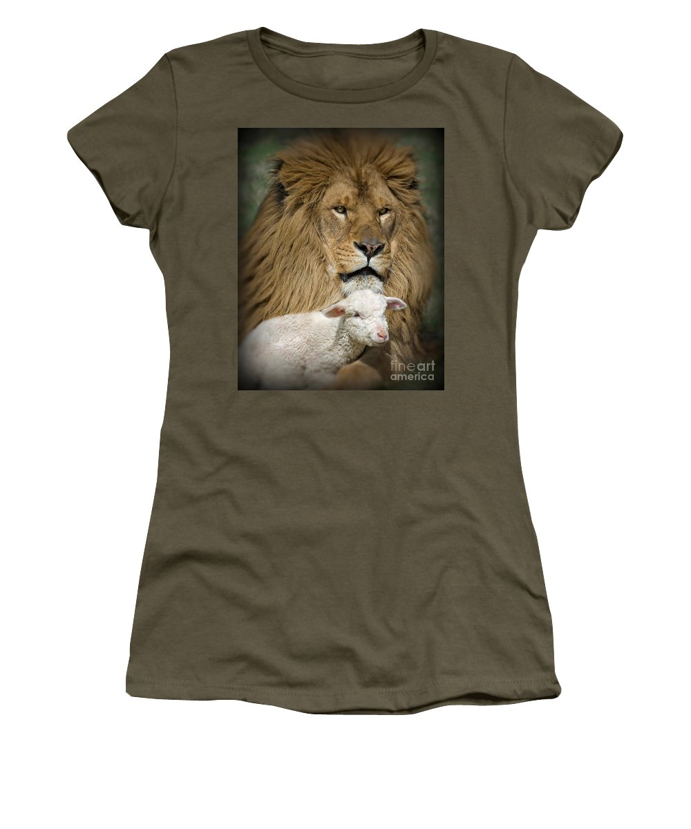 Lion And Lamb Women's T-Shirt featuring the photograph True Companions by Wildlife Fine Art